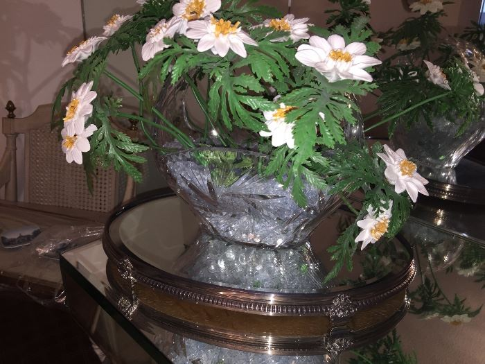 Porcelain hand made flowers in vintage cut glass basket