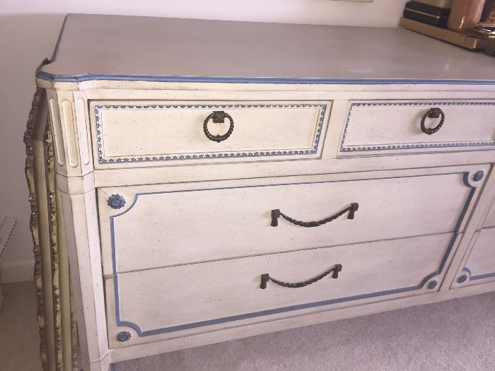 Fabulous mid-Century Vintage National white w/blue trim complete bedroom set