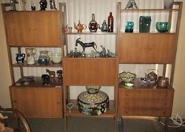 "Mid-Century modern wall unit measures 86""L x 16 1/2""W x 73""H"