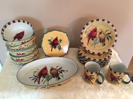 Large set of Lenox Winter Greeting Everyday dishes.  Cereal bowls, salad plates, trivet, oval serving dish, 8 coffee mugs for sale - all in perfect condition.