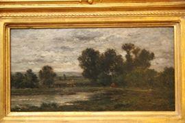 """Charles François Daubigny, oil on panel, Le Labours Auvers (1873, France), 7 ⅜"""" x 13 ⅞"""
