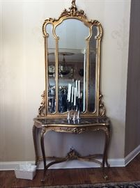 Monumental 9 foot 3 inch French marble top Gilt console and mirror