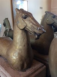 Pair of asian influenced horse mounts