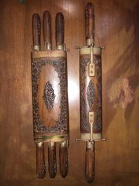Vintage carved knife set