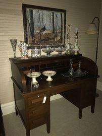 oak roll top desk--sold.                                              Juliska crystal, Old Paris, NC Martin wild turkey painting. Sold