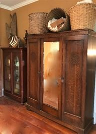 English Oak armoire with mirrored door, 1930's,        old cotton baskets
