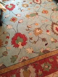In style teal, blue, rose wool carpet, so pretty!