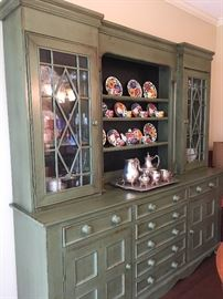 Gorgeous English Hutch with Glass paned cabinets and lots of shelves for displays!