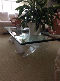 Lucite Coffee Table base, plants, salmon colored sculpture - it is just for the base pieces.