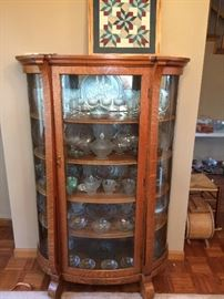 Oak manage a curio cabinet with bold glass front and sides