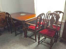 Available for PRE-SALE 1930's Antique Dining Room Set made by Valley Furniture Company of St. Louis Includes Antique Table 5 Chairs, Hutch/China Cabinet & Buffet