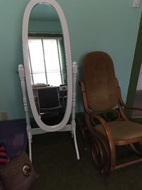White Standing Dressing Mirror and Bent Wood Rocking Chair