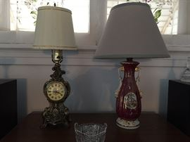 Great Vintage / Antique Lamps, Beautiful Clock Lamp and Awesome Vase Lamp