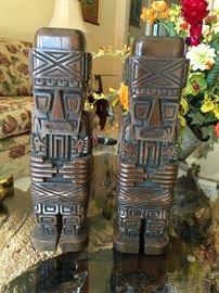 Peruvian hand carved Inca figures ca 1920
