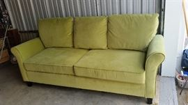Contemporary Apple Green Velveteen Couch