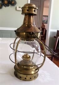 Vintage Maritime Brass Hanging Oil Onion Lamp.