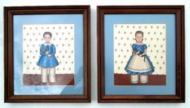 Pair Framed Edwardian Children Needlepoint