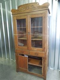 Glass Front Pie Safe Jelly Cupboard Cabinet in need of repair