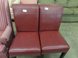 SET OF 4 LEATHER PARSONS CHAIRS