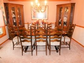 Farm/Harvest Style table with 8 Ladder Back Chairs, A matching pair of Corner Display cabinets