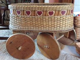 Charming, unusual basket on wheels..
