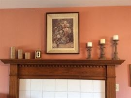 picture, candles and candlestands
