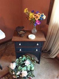 same table, flower arrangements,