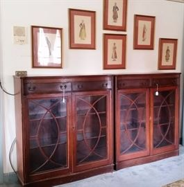 Pair of bookcases with glass doors