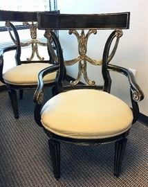 Black and silver arm chairs with cream linen seat fabric. $250 each.