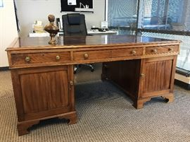 "Antique English partners desk. 71.5"" X 43"". Good condition.  Has all hardware and keys.  Top lifts off two cabinet pieces. Paid $10,000 in 2002. $2300"