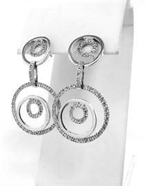 14kt White gold dangle earrings with 1.01tw micro pave diamonds. $350
