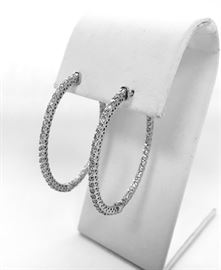 14kt White Gold Hoop Earrings with 2.11 Carat Total Weight in Diamonds. $1350.