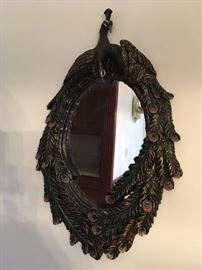 very pretty peacock mirror. Many peacock items in this sale