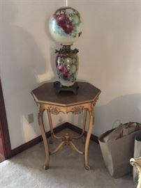 Lovely painted hurricane lamp and delicate French side table