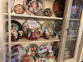 inside the china cabinet, lovely hand painted china