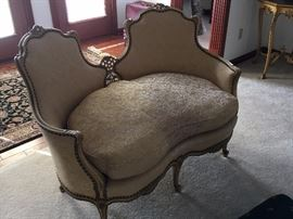 French provincial love seat with down cushions