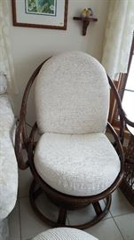 Wicker/Bamboo-style chair with ottoman