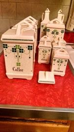 OLD GREEN / WHITE CANISTER SET