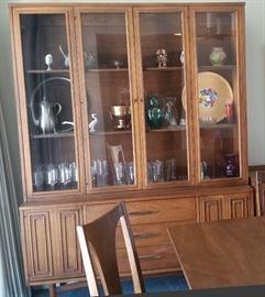 8-Piece Walnut Sculptra Dining Room Suite w/custom pads & upholstery