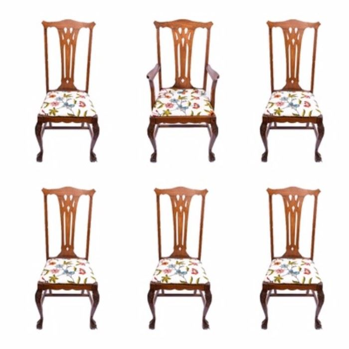 vintage oak clawfoot dining chairs a set of dining chairs these oak chairs have hand embroidered seats and pierced splat backs chairs have hstretchers - Vintage Wooden Dining Chairs