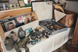 WWII military gear, sad irons, wooden typewriter box, Kennedy magazines