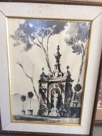 Neat mid century architectural watercolor litho