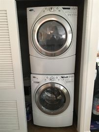 Whirlpool stackable washer and dryer- like new condition