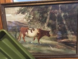 Be sure and check out this original cow water color.  Nothing famous, - just one of those that seems to have a story