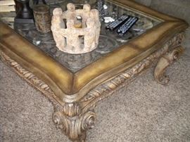 Beautiful Glass top coffee table, with matching end table. Deco on top subject to availability.