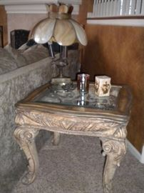 Glass top coffee table and Antique tiffany lamp