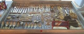 Sterling flatware, early souvenir spoons and vintage and newer costume jewelry