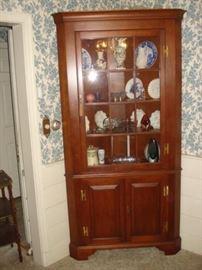 Henkel Harris, cherry corner cupboard,single door,12 pane.