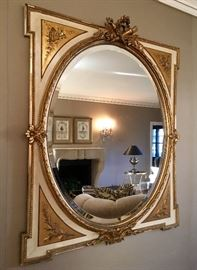 Antique Gold Filigree Oval Mirror  54x43
