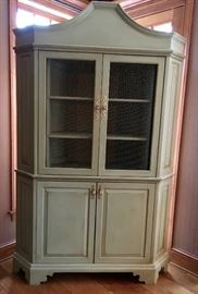 French custom painted corner cabinets with chicken wire. Set of 2